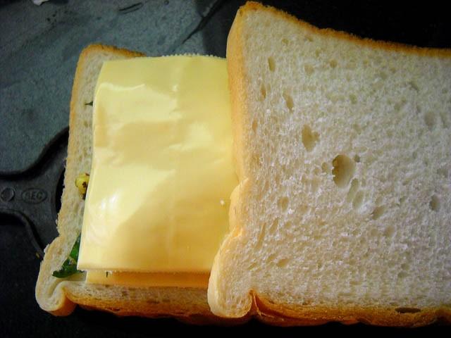 corn cheese toast - cheese slice