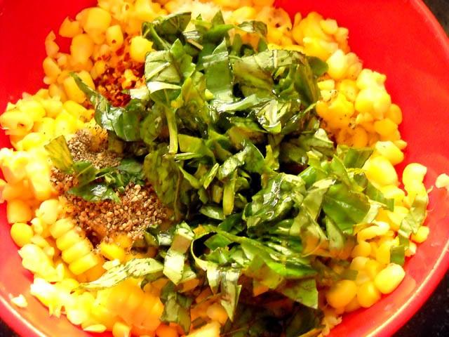 corn cheese toast - basil on corn