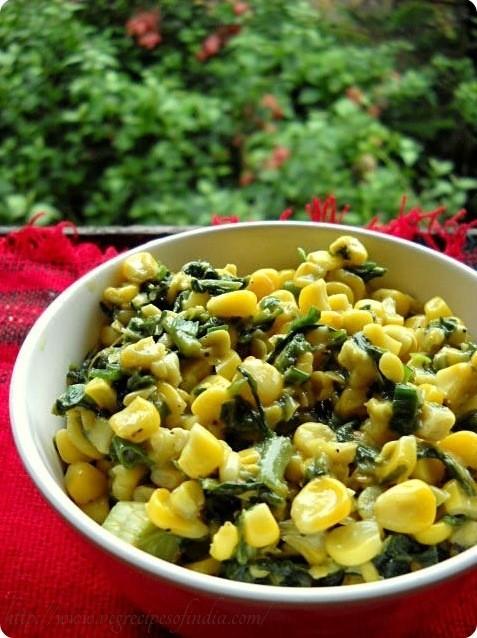 corn palak recipe, palak corn recipe