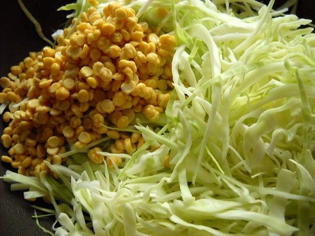 adding cabbage chana dal