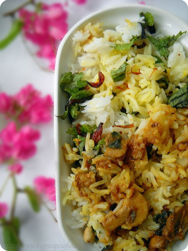 mushroom biryani: dum mushroom biryani, mushroom biryani recipe