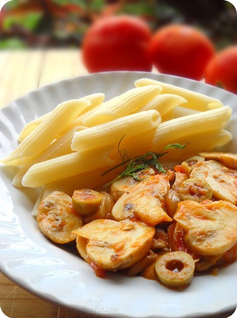 penne with tomatoes and mushroom recipe