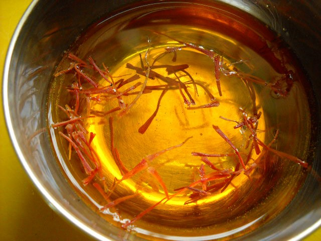 saffron dissolved in water for halwa recipe