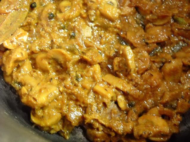 the first layer of mushroom biryani recipe