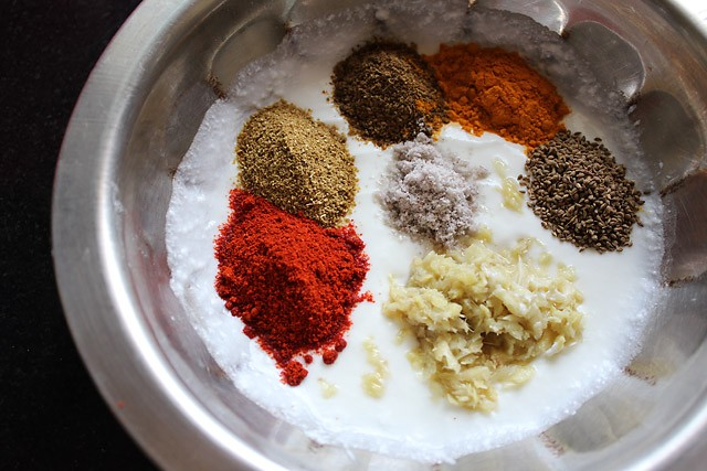 added spices for paneer tikka