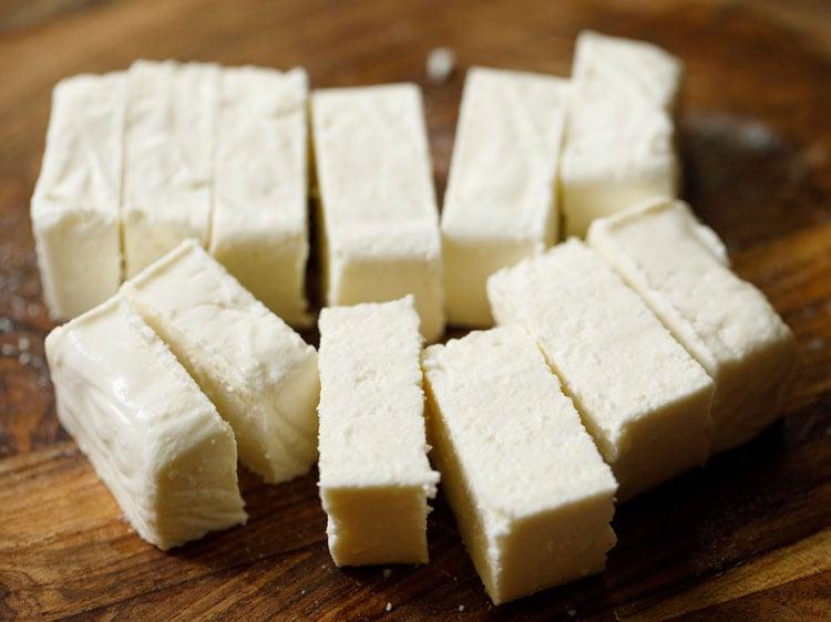 paneer chopped in cubes