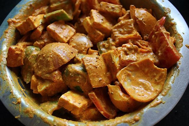 making paneer tikka recipe