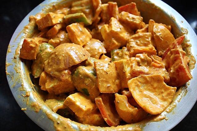 paneer veggies in marinade for paneer tikka recipe