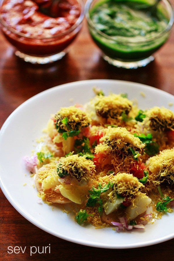 sev puri recipe, how to make sev puri recipe, mumbai sev puri