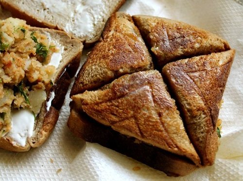 chaat style aloo cheese toast sandwich recipe