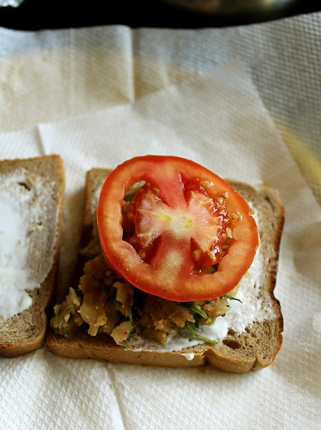 chaat style aloo sandwich recipe