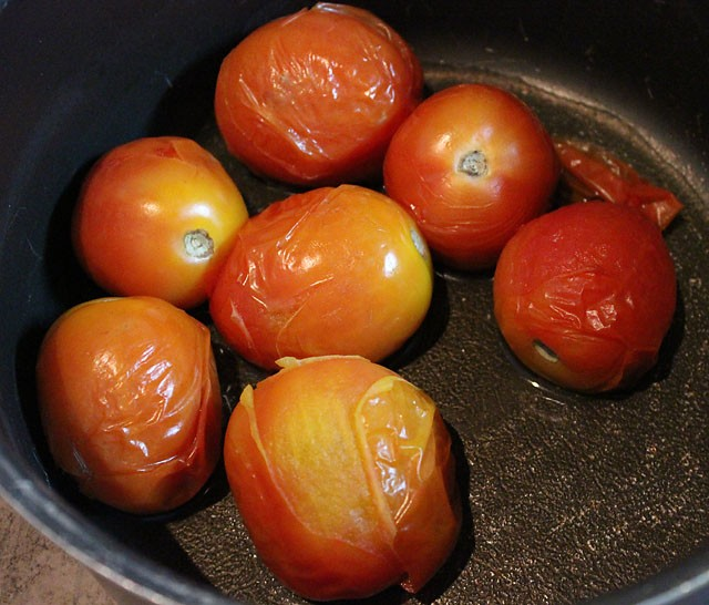 blanched tomatoes for tomato rasam recipe