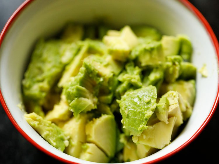 chopped avocado added in the mixing bowl