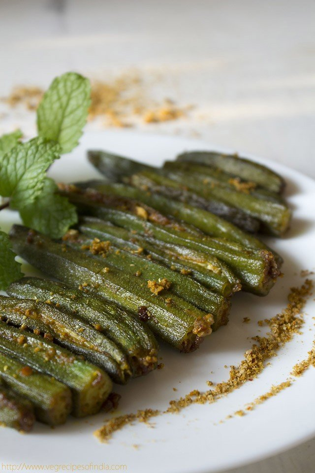 bharwan bhindi recipe, how to make bharwan bhindi | stuffed okra