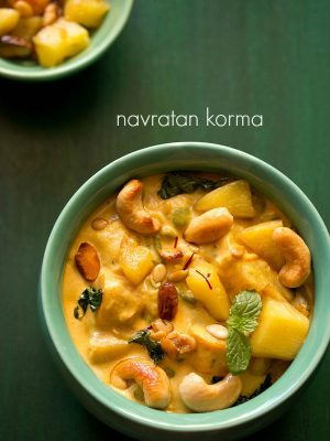 navratan korma recipe, how to make navratan korma