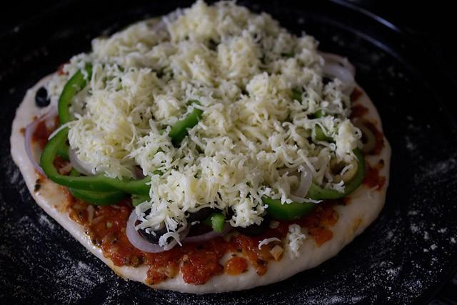preparing vegetable pizza recipe