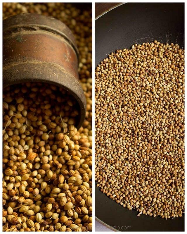 making coriander powder masala recipe