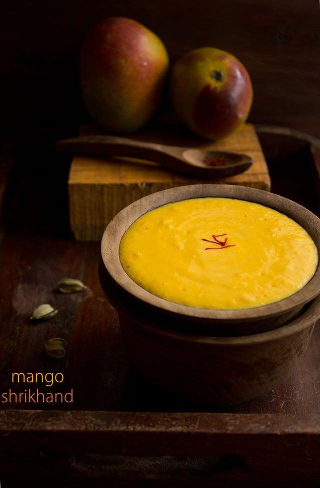 mango shrikhand or amrakhand, how to make mango shrikhand recipe