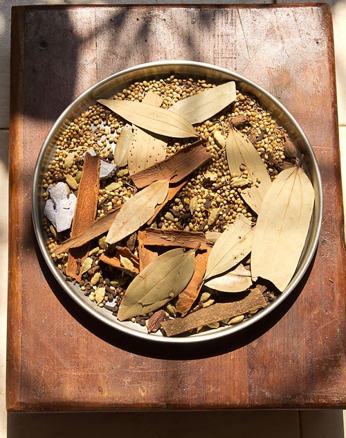 spices on a large plate kept in sunlight