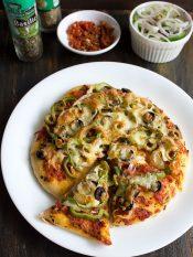 veg pizza recipe, how to make pizza recipe | homemade pizza recipe