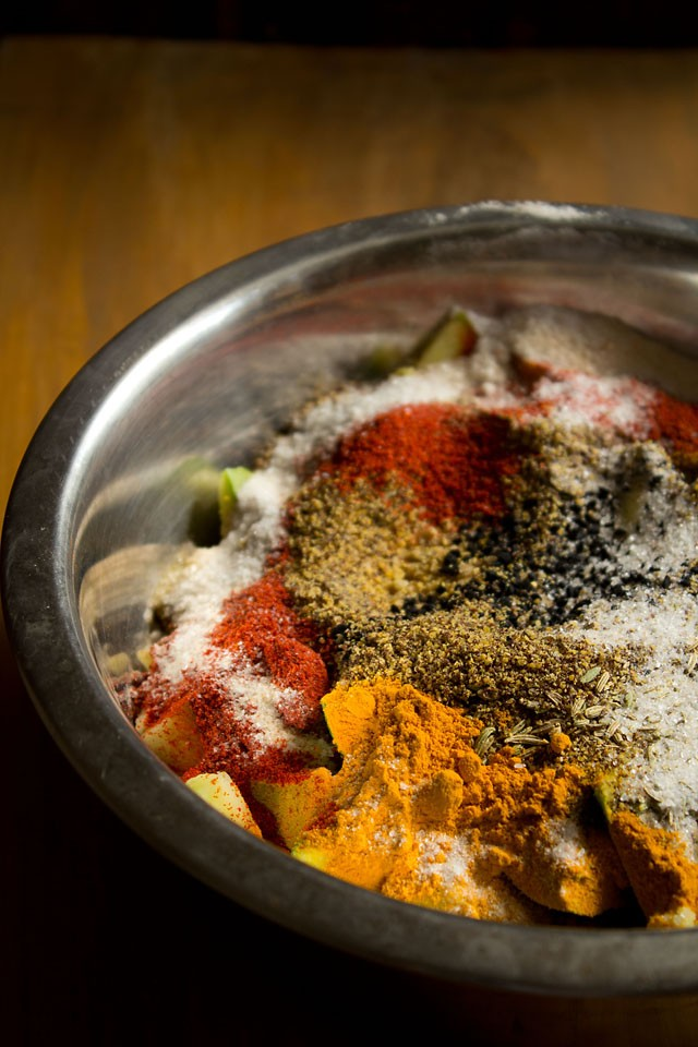 add spices for punjabi mango pickle recipe
