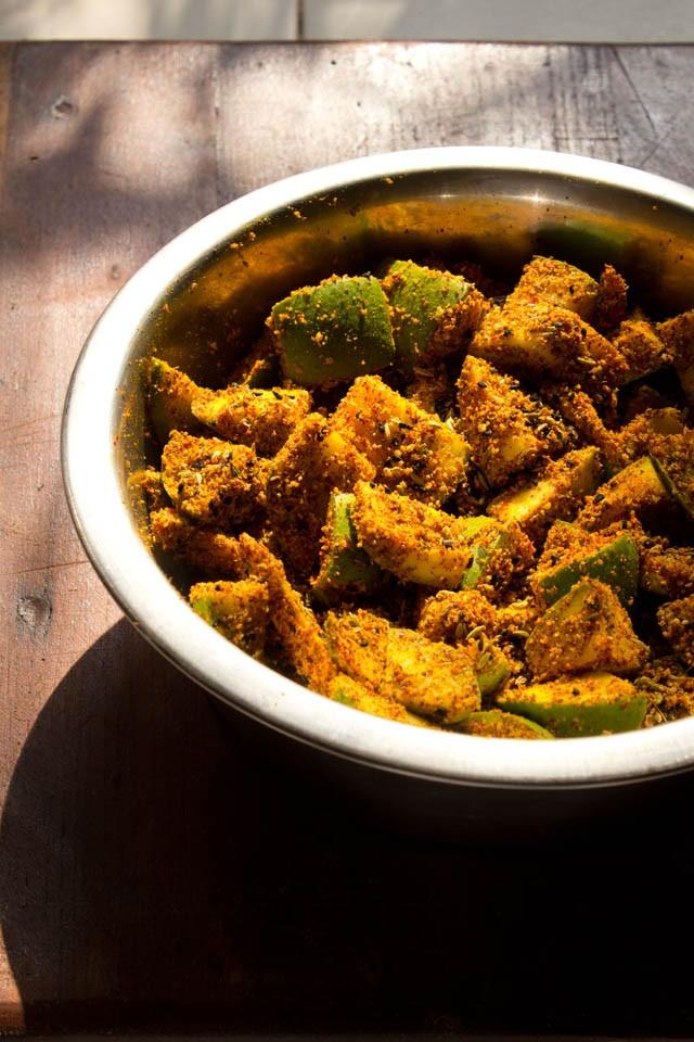 mango pickle recipe, how to make mango pickle | aam ka achar