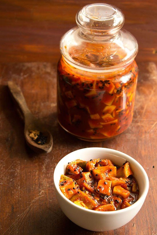 No Oil Mango Pickle with Jaggery