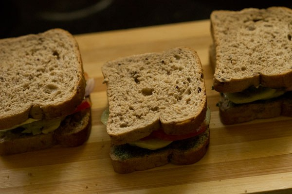 making bombay veg toast sandwich recipe