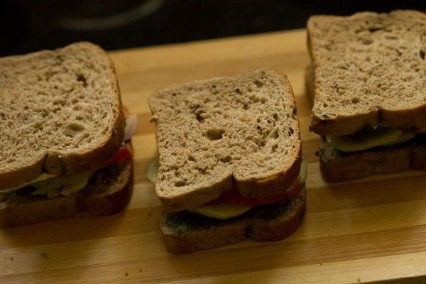 making bombay veg toast sandwich recipe