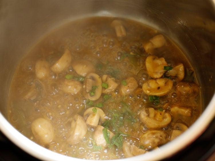 add seasoning to chilli mushroom gravy