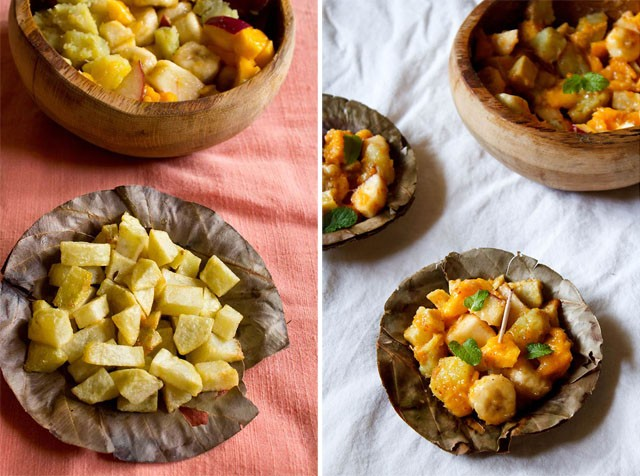 fried potatoes for fruit chaat