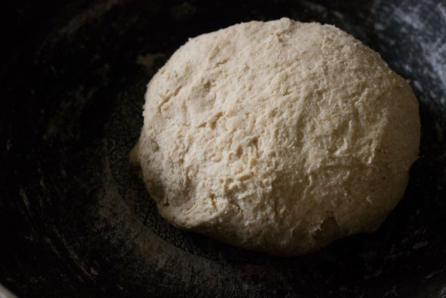 preparing pita bread dough