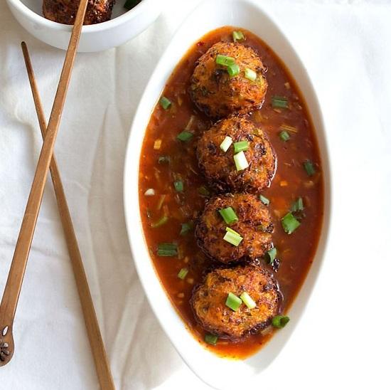 veg balls recipe in hot garlic sauce