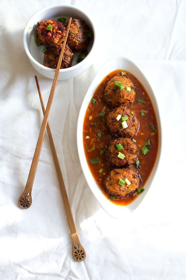 veg balls in hot garlic sauce recipe – indo chinese veg recipes