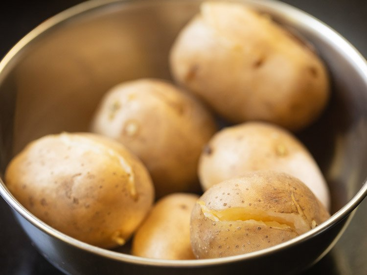 boiled potatoes in a steel bowl