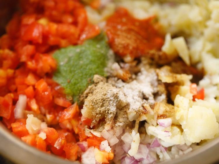 chaat masala, salt and cumin powder added