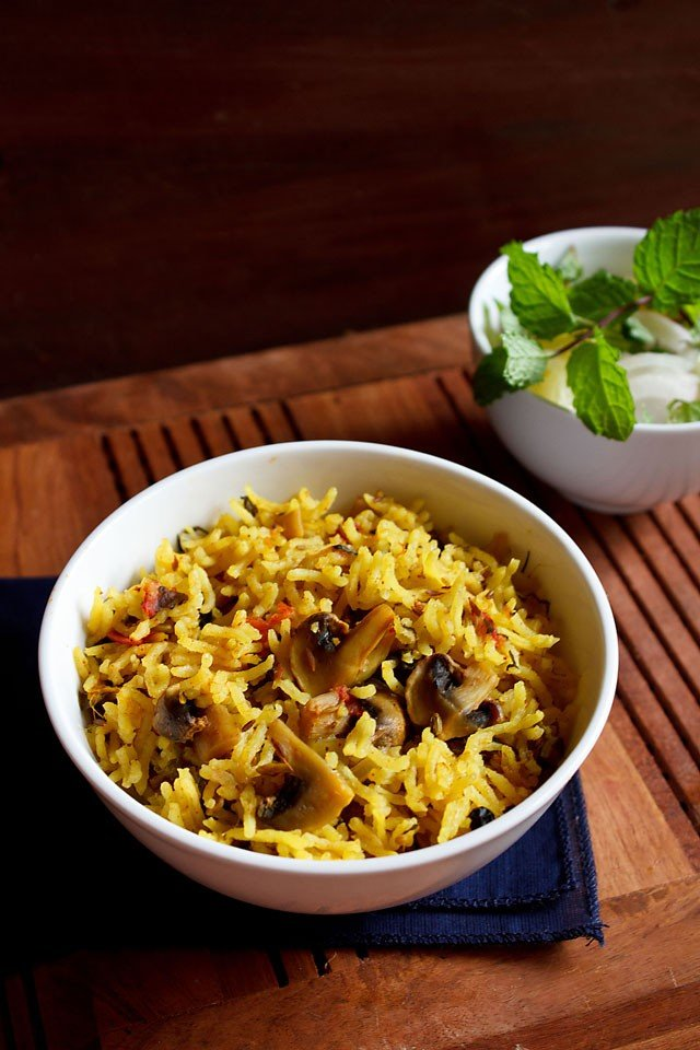 mushroom biryani recipe, how to make mushroom biryani recipe