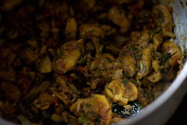 sauting mushroom biryani recipe