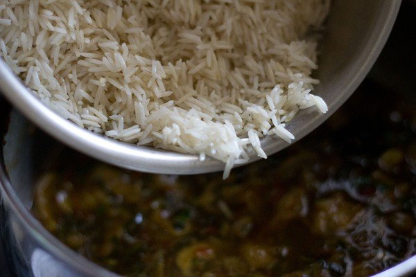 add rice to mushroom biryani recipe
