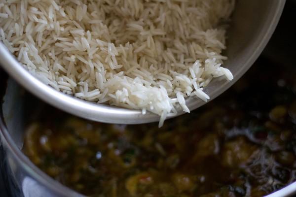 add rice to mushroom biryani recipe