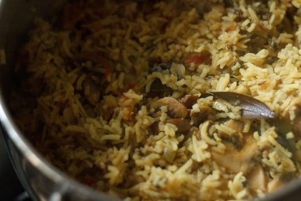 cooked mushroom biryani recipe, south indian mushroom biryani