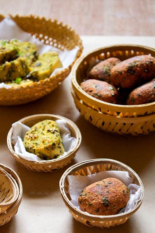 methi muthia recipe, how to make methi muthia | gujarati methi muthia