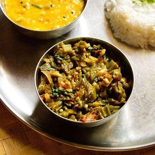 bhindi ki sabji served with dal and steamed rice