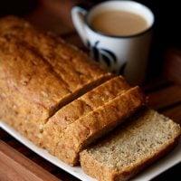 banana bread recipe, how to make eggless banana bread recipe