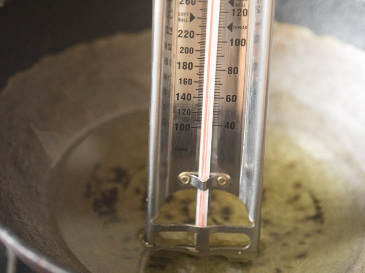 oil in a wok at 135 degrees Celsius for first fry of french fries recipe