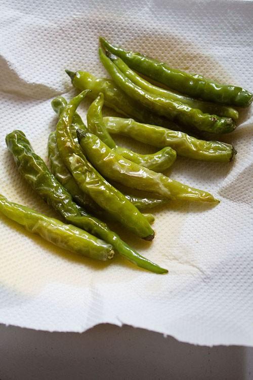 lightly fried green chilies for hyderabadi mirchi ka salan