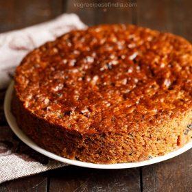 eggless christmas fruit cake recipe, egg free fruit cake recipe, plum cake recipe