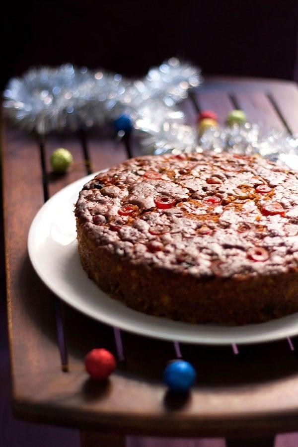 Christmas Cake Recipes Pictures : eggless christmas fruit cake recipe, vegan eggless ...