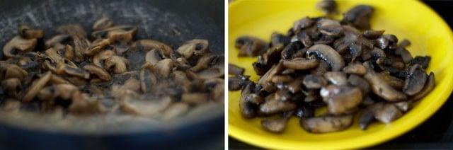 saute the chopped mushrooms