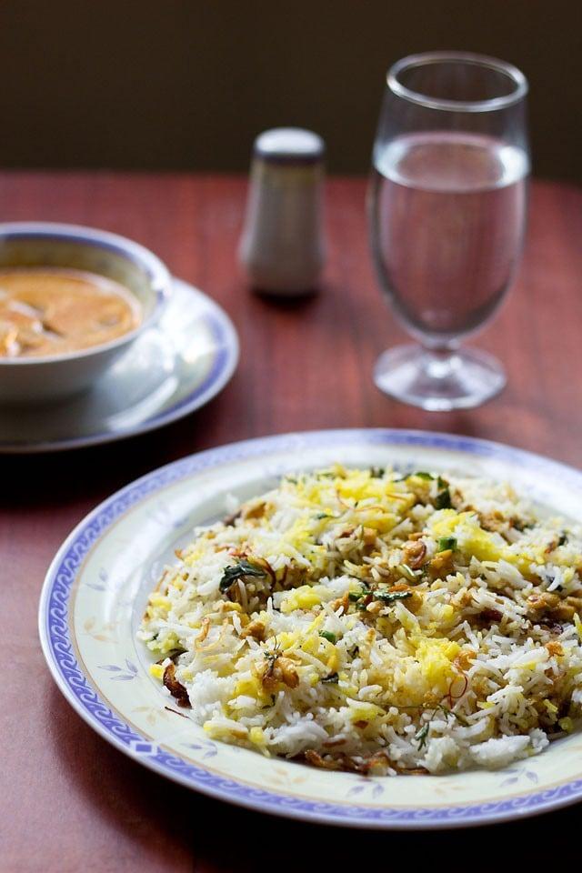 qabooli biryani or qubooli biryani recipe | chana dal biryani recipe